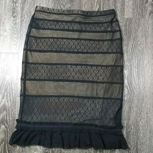 Express Black Sheer Lace Ruffle Peplum Skirt